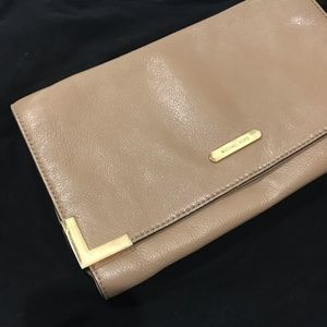 Michael Kors camel leather oversized clutch